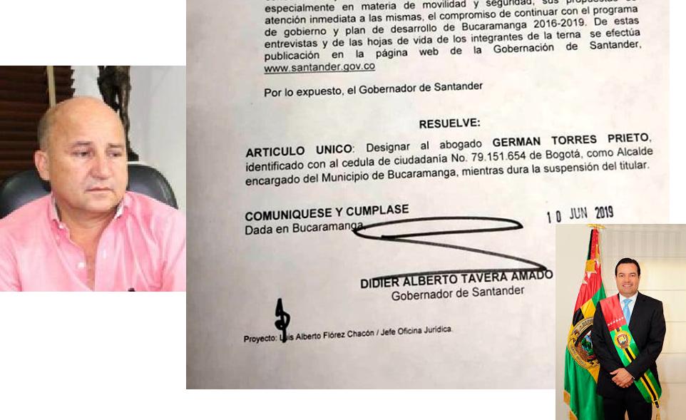 Designado Alcalde de Bucaramanga, para reemplazar al titular suspendido por la Procuraduría