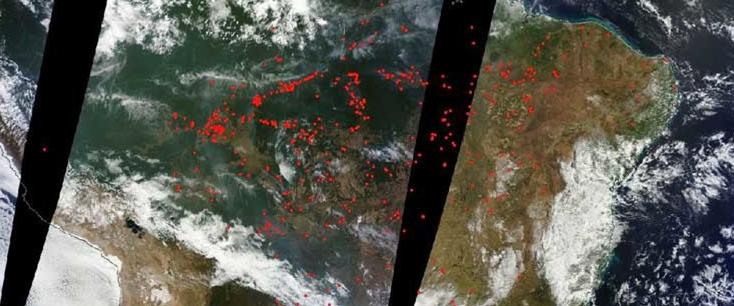 Balsonario el criminal  incendiario. La NASA publica imágenes de cómo arde la Amazonía