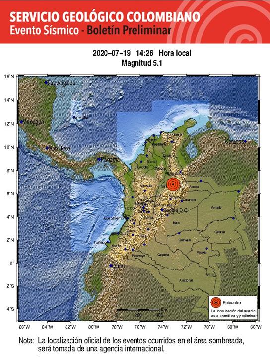 Temblor en Colombia. El movimiento telúrico con epicentro en Santander