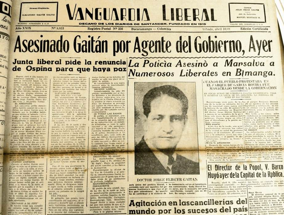 10 de abril de 1948. Primera página del periódico liberal de la tierra nativa