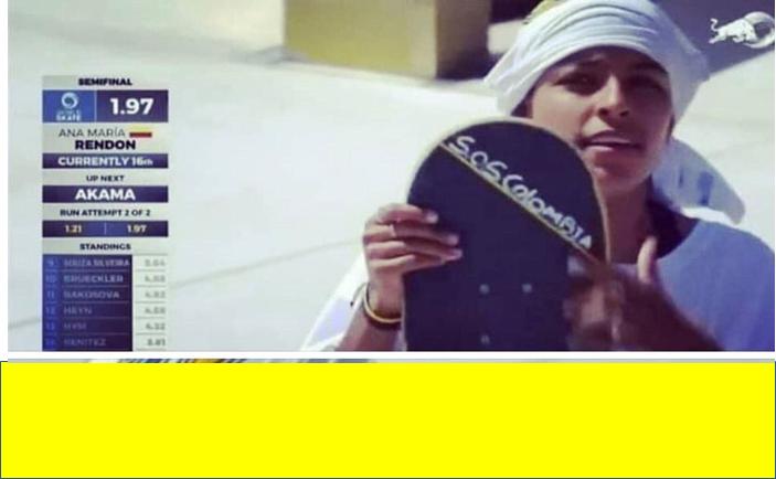 Roma. Ana María Rendón representando el Skate,  levantó su voz por Colombia