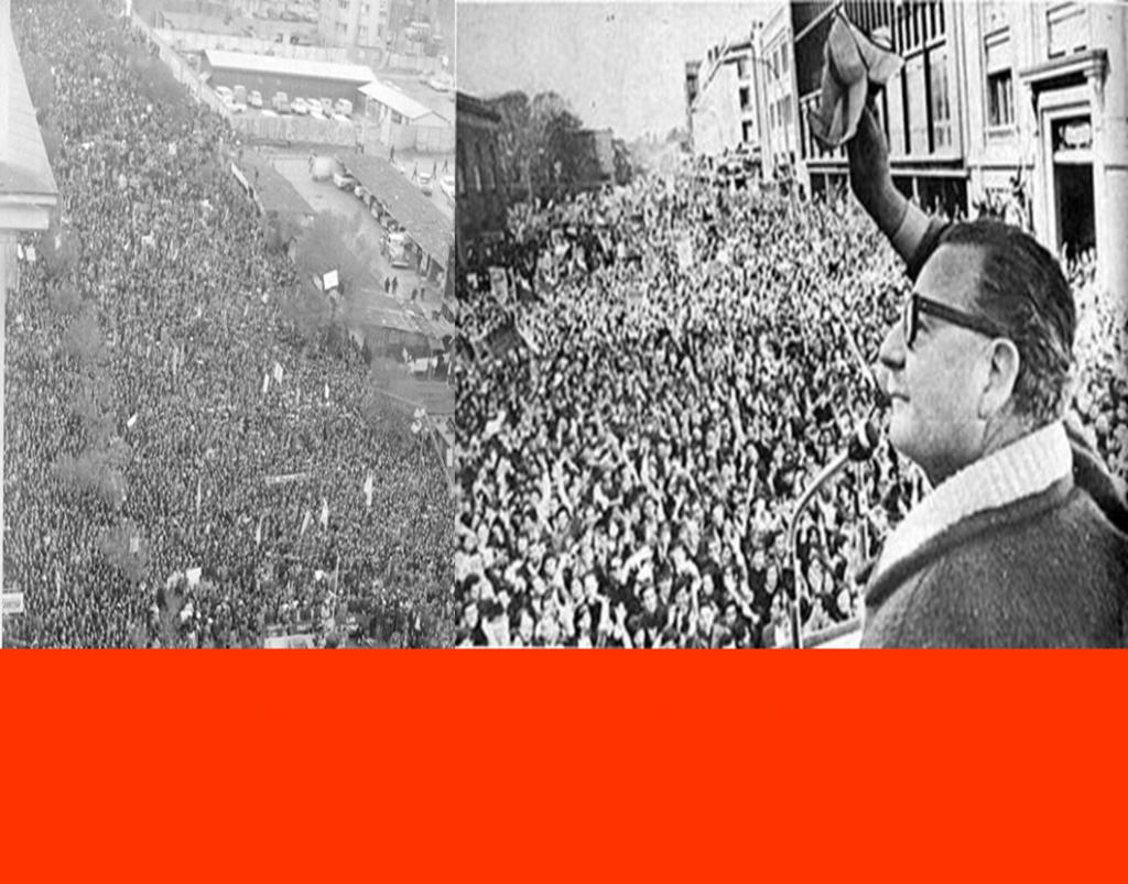 """CHILE.SALVADOR ALLENDE, el 4 de septiembre de 1973 preside  Multitudinaria manifestación de apoyo, a 6 días del """"pinochetazo"""""""